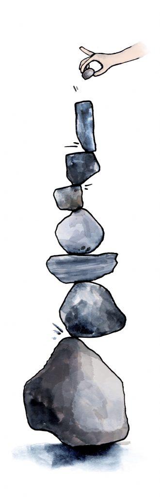 Stapelen, omvallen, verlies van balans, minder evenwichtig, disbalans. overbelast, hartcoherentie